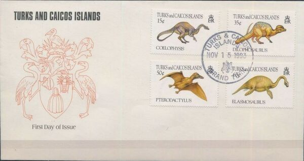 Turks and Caicos Islands 1993 Prehistoric Animals FDCb
