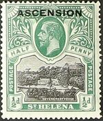 "Ascension 1922 Stamps of St. Helena Overprinted ""ASCENSION"" a"