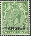 British Offices in Tangier 1927 King George V Overprinted (hatched background) a