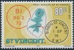 St Vincent 1979 Cancellations and Location of Village o