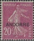 "Andorra-French 1931 Type ""Semeuse"" of France Overprinted ""ANDORRE"" b"