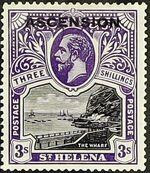 """Ascension 1922 Stamps of St. Helena Overprinted """"ASCENSION"""" l"""