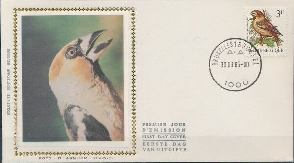 Belgium 1985 Birds FDCc