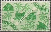 French Somali Coast 1943 Locomotive and Palms c