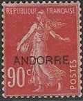 "Andorra-French 1931 Type ""Semeuse"" of France Overprinted ""ANDORRE"" j"