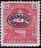 Nicaragua 1898 Official Stamps Overprinted in Blue k