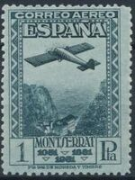 Spain 1931 Plane over Montserrat Pass e
