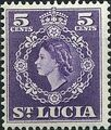 St Lucia 1953 Queen Elizabeth II and Arms of St Lucia e.jpg