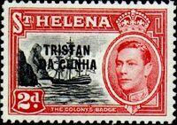 Tristan da Cunha 1952 Stamps of St. Helena Overprinted d