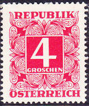 Austria 1951 Postage Due Stamps - Square frame with digit (3rd Group) a