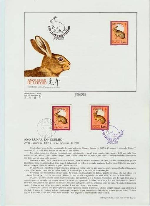 Macao 1987 Year of the Rabbit pre