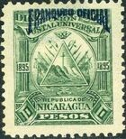 Nicaragua 1895 Official Stamps Overprinted in Blue j