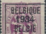 Belgium 1934 Coat of Arms, Precanceled and Surcharged