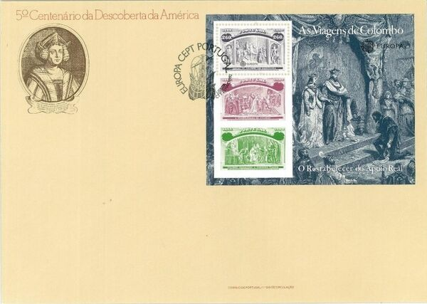 Portugal 1992 EUROPA - 5th Centenary of Discovery of America FDCf