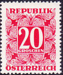 Austria 1949 Postage Due Stamps - Square frame with digit (1st Group) e