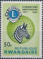 Rwanda 1967 50th Anniversary of Lions International f
