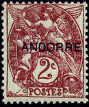 "Andorra-French 1931 Type ""Blanc"" of France Overprinted ""ANDORRE"" b"