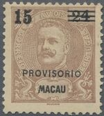 Macao 1900 Carlos I of Portugal Surcharged in Black c