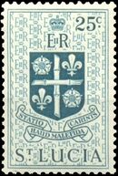 St Lucia 1953 Queen Elizabeth II and Arms of St Lucia j