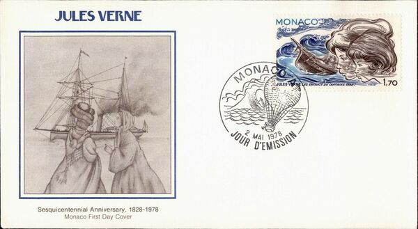 Monaco 1978 Birth Sesquicentennial of Jules Verne FDCo