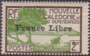 "New Caledonia 1941 Definitives of 1928 Overprinted in black ""France Libre"" b"