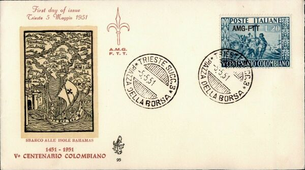 Trieste-Zone A 1951 500th Anniversary of Birth of Columbus FDCa