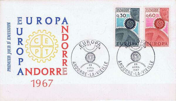 Andorra-French 1967 Europa FDCb