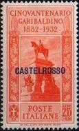 Italy (Aegean Islands)-Castelrosso 1932 50th Anniversary of the Death of Giuseppe Garibaldi i