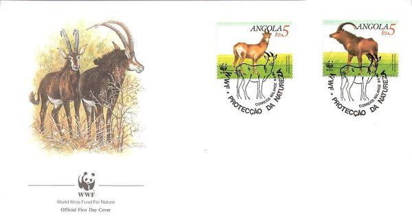Angola 1990 WWF - Giant Sable Antelope FDCe