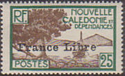 "New Caledonia 1941 Definitives of 1928 Overprinted in black ""France Libre"" i"