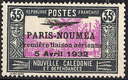 New Caledonia 1933 Definitives of 1928 Overprinted j