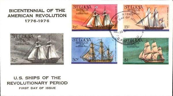St Lucia 1976 200th Anniversary of American Revolution - Revolutionary Era Ships FDCb