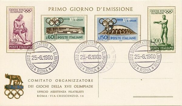 Italy 1960 Olympic Games Rome FDCb