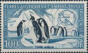 French Southern and Antarctic Territories 1956 Emperor Penguins and Map of Antarctica b