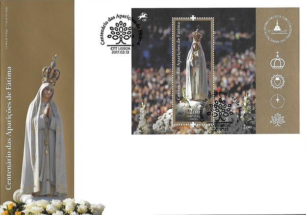 Portugal 2017 His Holiness Francis at the Celebration of the Centennial of the Apparitions at Fatima FDCb