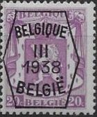 Belgium 1938 Coat of Arms - Precancel (3rd Group) b