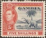 Gambia 1938 King George VI and Elephant (1st Group) k