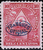 Nicaragua 1898 Official Stamps Overprinted in Blue e