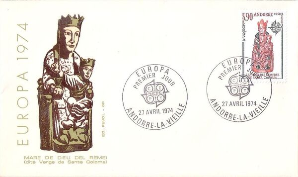Andorra-French 1974 - Europa - Sculptures FDCb