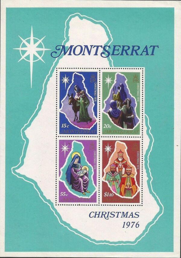 Montserrat 1976 Christmas and Map of Montserrat h