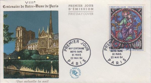 France 1964 800th Anniversary of Notre Dame Cathedral FDCa