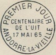 Andorra-French 1965 ITU Centenary PSMa