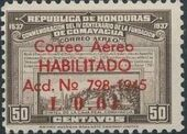Honduras 1945 Air Post Stamps of 1937-1939 Surcharged a