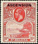 "Ascension 1922 Stamps of St. Helena Overprinted ""ASCENSION"" c"