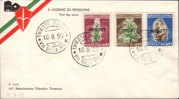 Trieste-Zone A 1950 European Tobacco Conference FDCc
