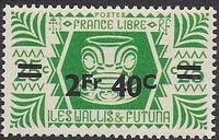 Wallis and Futuna 1946 Ivi Poo Bone Carving in Tiki Design Surcharged e
