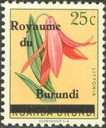 Burundi 1962 Flower Issue of Ruanda-Urundi Overprinted a