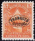 Nicaragua 1898 Official Stamps Overprinted in Blue ka