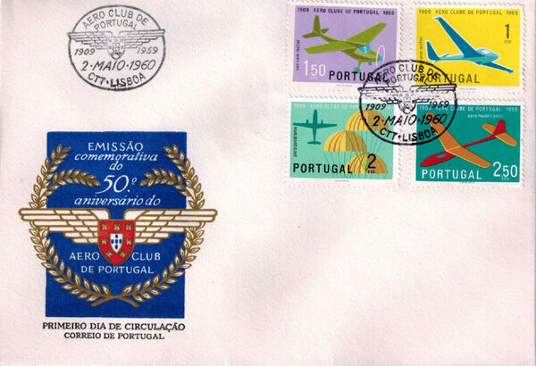 Portugal 1960 The 50th Anniversary of the Aero Club of Portugal FDCa