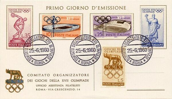 Italy 1960 Olympic Games Rome FDCa